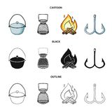 Vangst, haak, netwerk, gietmachine De visserij van vastgestelde inzamelingspictogrammen in beeldverhaal, zwarte, illustratie van  stock illustratie
