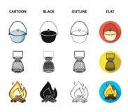 Vangst, haak, netwerk, gietmachine De visserij van vastgestelde inzamelingspictogrammen in beeldverhaal, zwarte, overzicht, de vl stock illustratie