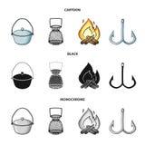 Vangst, haak, netwerk, gietmachine De visserij van vastgestelde inzamelingspictogrammen in beeldverhaal, de zwarte, zwart-wit voo vector illustratie