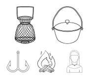 Vangst, haak, netwerk, gietmachine De visserij van vastgestelde inzamelingspictogrammen in van de het symboolvoorraad van de over stock illustratie
