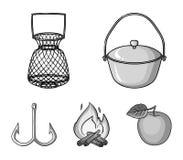 Vangst, haak, netwerk, gietmachine De visserij van vastgestelde inzamelingspictogrammen in het zwart-wit Web van de de voorraadil stock illustratie