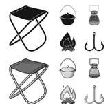 Vangst, haak, netwerk, gietmachine De visserij van vastgestelde inzamelingspictogrammen in het zwarte, zwart-wit Web van de de vo stock illustratie