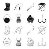 Vangst, haak, netwerk, gietmachine De visserij van vastgestelde inzamelingspictogrammen in zwarte, van de het symboolvoorraad van vector illustratie