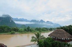 Vangvieng,Laos landscape. Asian urban landscape,Vangvieng, Laos Royalty Free Stock Images