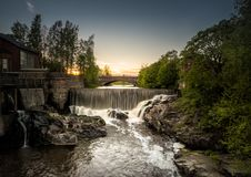 Vanhankaupunginkoski急流在赫尔辛基 免版税库存照片