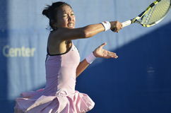 Vania King 1. Vania King hits a groundstroke at the 2011 Mercury Insurance Open Royalty Free Stock Photography