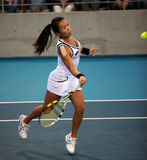 Vania King in action at the 2010 China Open Royalty Free Stock Photos