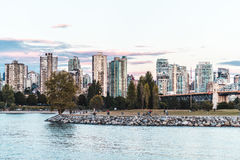 Vanier Park and Downtown Vancouver view from Kitsilano Beach in Stock Photography