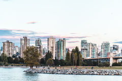 Vanier Park and Downtown Vancouver view from Kitsilano Beach in Stock Photos