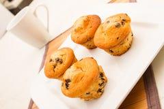 Vaniglia con i muffin di pepita di cioccolato con una tazza di caffè Immagine Stock Libera da Diritti