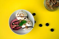 Vanila и мороженое клубники с шоколадом и мятой на белом шаре желтеют стекло предпосылки с гайками и голубиками 3 стоковая фотография rf