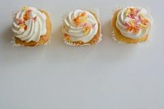 vanilj för muffiner tre Royaltyfri Fotografi