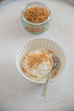 Vanilj-kokosnöt glass i en bunke Royaltyfri Foto