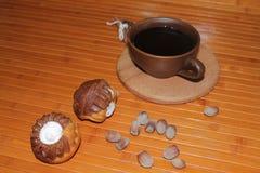 Vanilj- och chokladmuffin med en kopp kaffe, muttrar och kanel Arkivbild