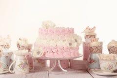 Vanilj- och jordgubbekaka Royaltyfri Fotografi