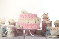 Vanilj- och jordgubbekaka Royaltyfri Bild