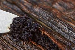 Vaniljbönor kärnar ur fröskidor på kniven royaltyfri bild