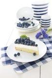Vaniljcake med nya blåbär Arkivfoto