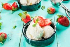 Vaniljglass med jordgubbar och mintkaramellen royaltyfri fotografi