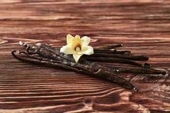 Vaniljpinnar och blomma på bakgrund royaltyfri foto