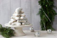 Vanilkipferl - ванильные полумесяцы, традиционные печенья рождества в Германии, Австрии, чехии Домодельные печенья Стоковое Изображение
