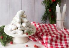 Vanilkipferl - ванильные полумесяцы, традиционные печенья рождества в Германии, Австрии, чехии Домодельные печенья Стоковая Фотография RF