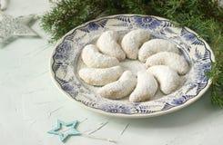Vanilkipferl -香草月牙,传统圣诞节曲奇饼在德国,奥地利,捷克 库存照片