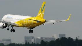 Vanilla air Airbus A320 Landing at Narita Airport.  stock video