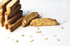 Vanilla almond biscotti. Shot of vanilla almond biscotti cookies stock images