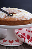 Vanilla and almond cake on a stand Royalty Free Stock Images