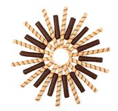 Vanilla And Chocolate Sticks With A Cream, Isolated Royalty Free Stock Images