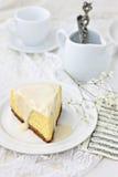 Vanilla baked cheesecake Stock Photos