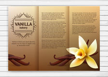 Vanilla bakery flyer. Vector bakery flyer with realistic flower and vanilla pods. Cafe sweet business brochure template Royalty Free Stock Image