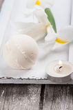 Vanilla bath bomb closeup Stock Photos