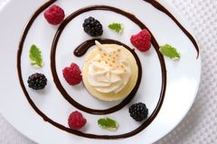 Vanilla Bean Cheesecake. Delicious Vanilla Bean Cheesecake served with fresh raspberries, blackberries and mint Stock Image