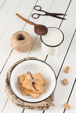 Vanilla Bean Cinnamon Cookies and Milk. White Wooden Table Background Stock Images