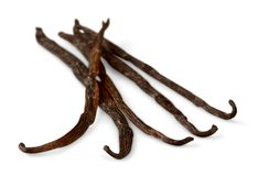 Vanilla beans. Five objects. Vanilla bean food black brown scented dried plant Royalty Free Stock Photo