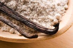 Vanilla beans with aromatic sugar Royalty Free Stock Photo