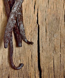 Vanilla beans. Bourbon vanilla beans isolated on old wooden background Royalty Free Stock Images