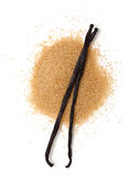 Vanilla beans and brown vanilla sugar Royalty Free Stock Image