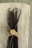 Vanilla Beans in Twine. Vanilla beans tied with twine on neutral colored cloth Stock Photography