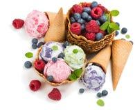 Vanilla and berries ice cream, above view. Stock Photography