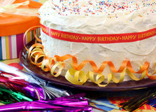 Vanilla Birthday Cake Stock Photo