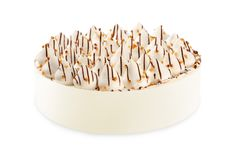 Vanilla buttercream cake with walnut sprinkles. Isolated on a white background royalty free stock photography