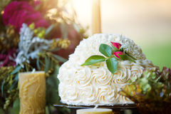 Vanilla buttercream wedding cake Royalty Free Stock Images