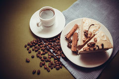 Vanilla cake and coffee stock images