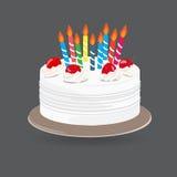 Vanilla cake. Vanilla cream Birthday cake with burning candles isolated on white background, Vector Illustration Royalty Free Stock Images