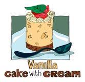 Vanilla cake with cream Royalty Free Stock Photos