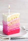 Vanilla Cake in Pink Ombre Stock Photo