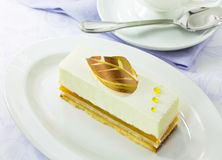 Vanilla cake slice Stock Photos